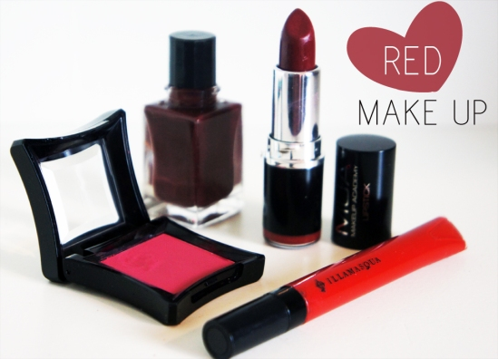 Red Makeup and nails