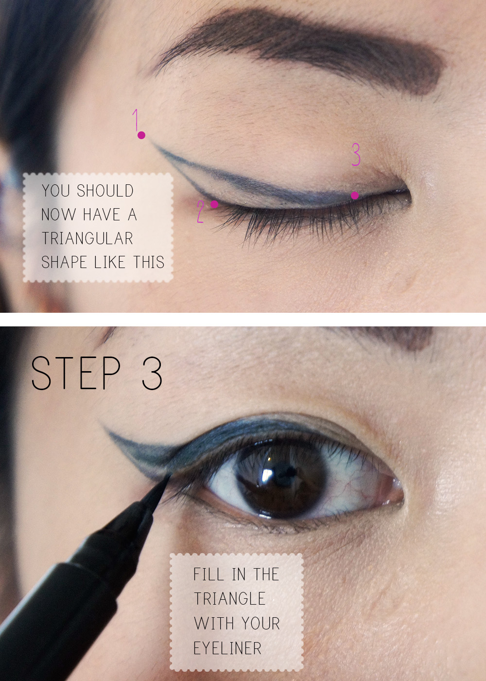 Step by step how to do the cateye or winged eyeliner look kaka how to do a cateye eyeliner tutorial step baditri Images