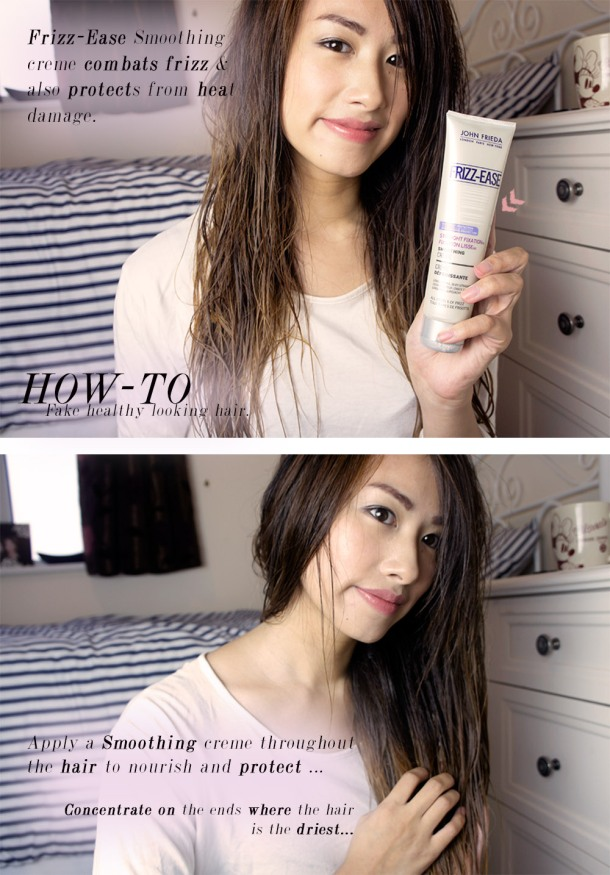 tips and tricks on How to fake healthier looking hair with Frizz Ease smoothing creme