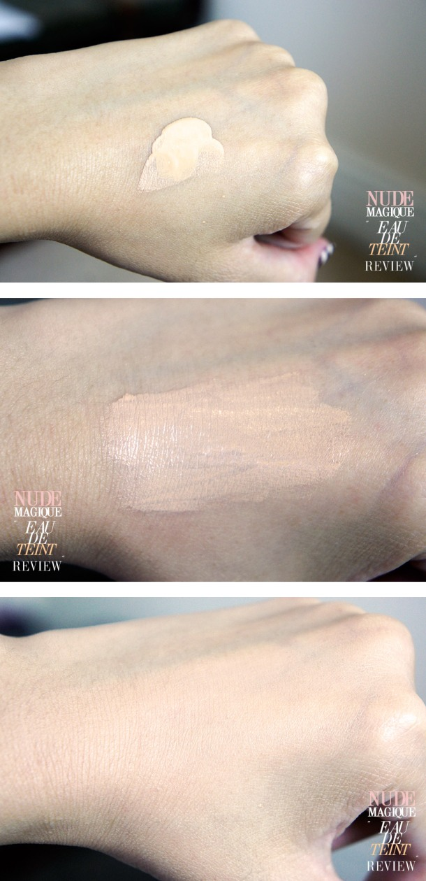 LOREAL EAU DE TEINT NUDE MAGIQUE FOUNDATION REVIEW AND WARM IVORY SWATCH SWATCH