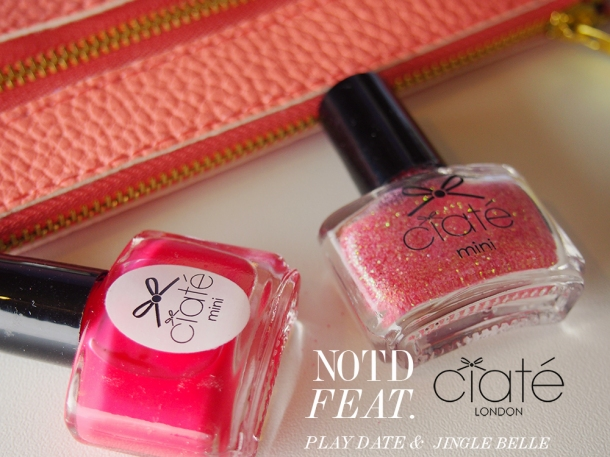 CORAL NAILS: NOTD FEATURING CIATE NAIL POLISH IN PLAYDATE & JINGLE BELLE